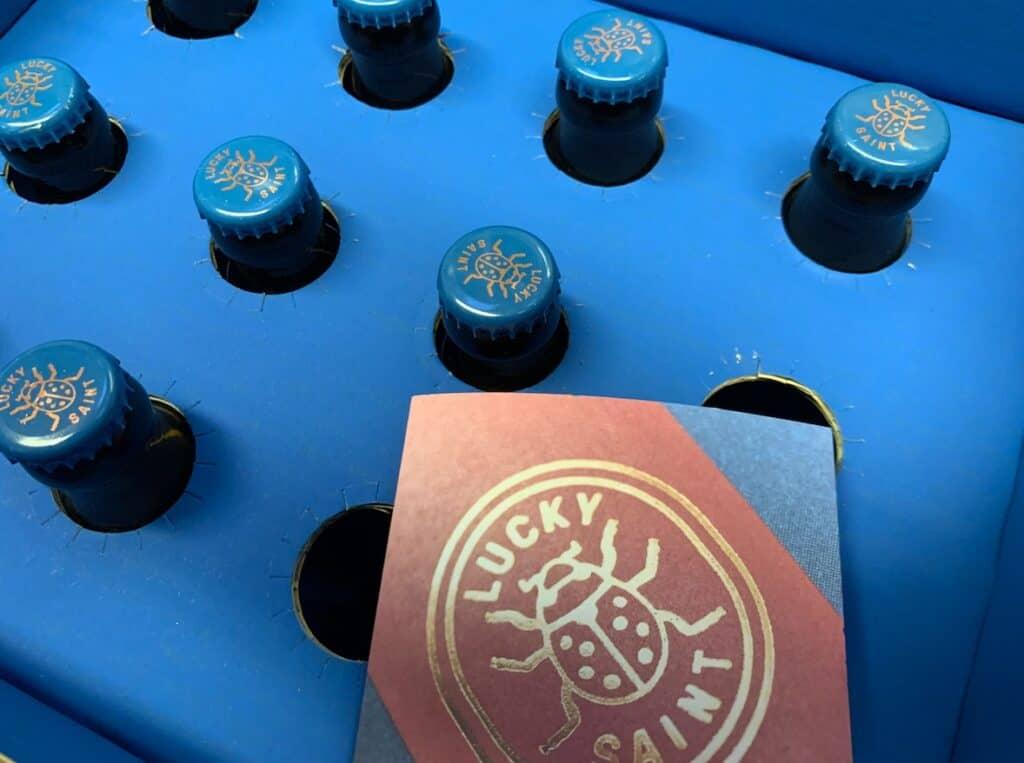 Lucky saint beer bottles.