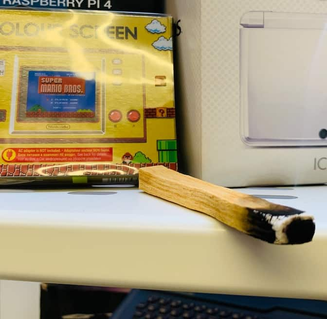 A smouldering Palo Santo stick in my office