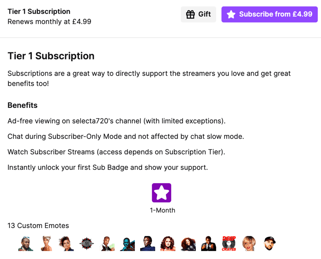 Twitch Subscriber Benefits