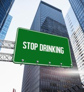 Stop drinking written on sign