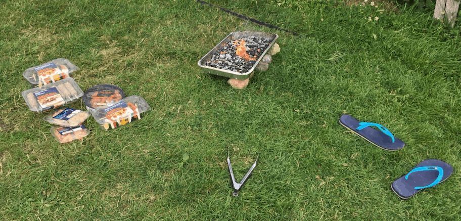 Disposable BBQ outside