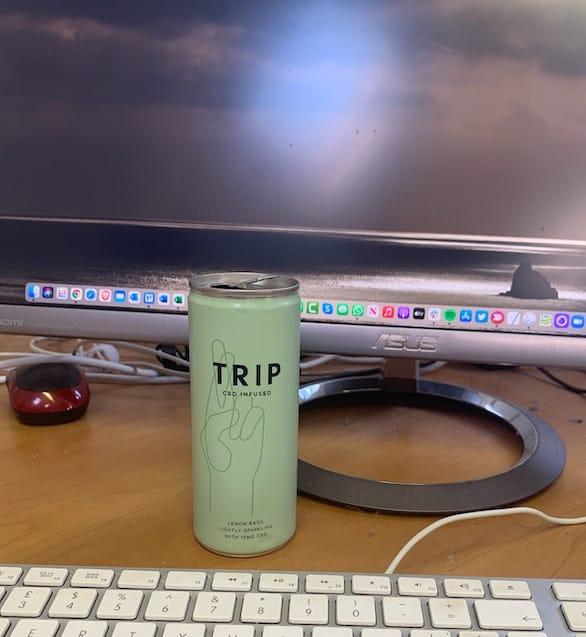 Drinking Trip Lemon Basil at my Computer