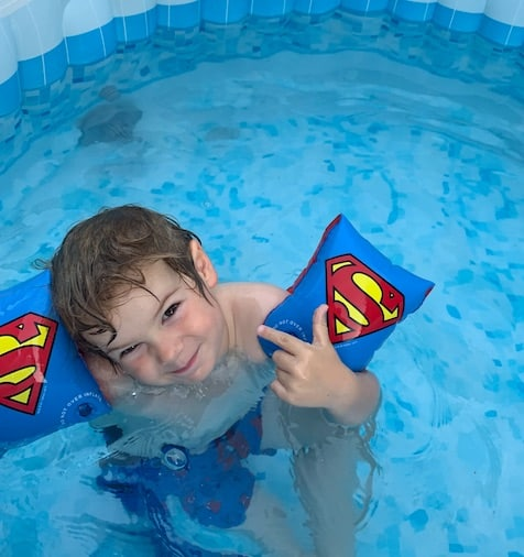 My son in our hot tub