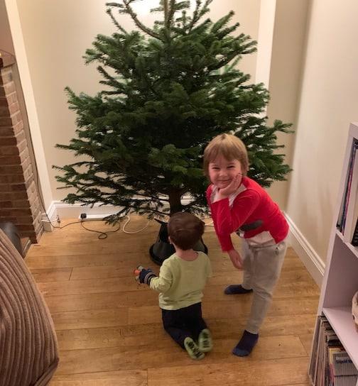 Children decorating the Christmas tree